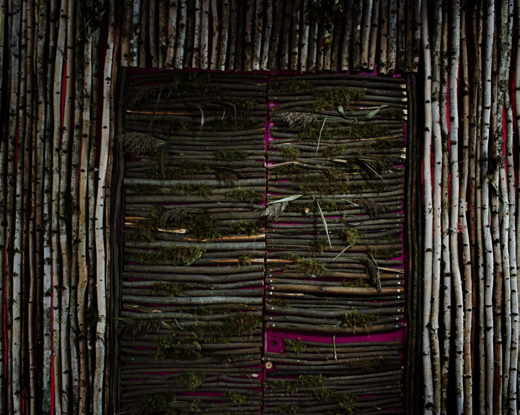 Door of a discotheque just at the border of the forbidden zone of Chernobyl. Fedorovka village.