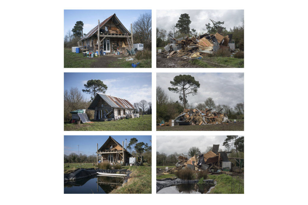 Different types of housing in ZAD of Notre Dame des Landes, France, March 2018. Différents types de logements dans la ZAD de Notre Dame des Landes, France, mars 2018.