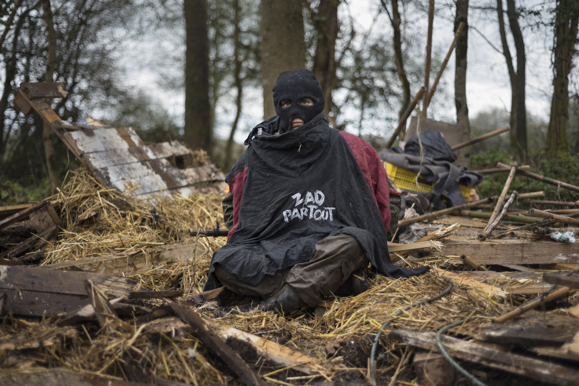La Chevrerie a few hours after it has been destroyed during the eviction operations in ZAD de Notre Dame des Landes.
