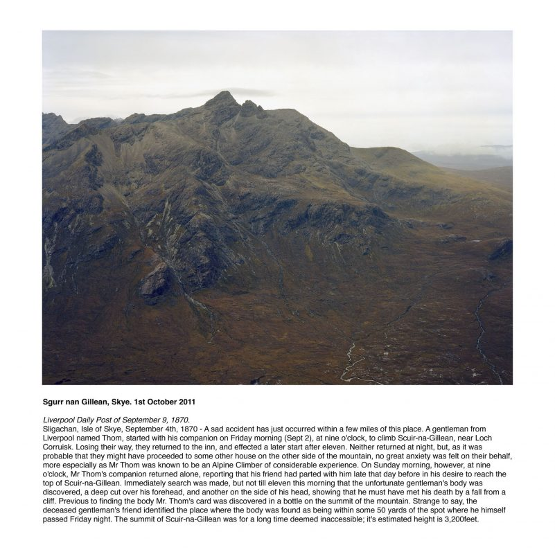 Sgurr nan Gillean, Skye. 1st October 2011Liverpool Daily Post of September 9, 1870.Sligachan, Isle of Skye, September 4th, 1870 - A sad accident has just occurred within a few miles of this place. A gentleman from Liverpool named Thom, started with his companion on Friday morning (Sept 2), at nine o'clock, to climb Scuir-na-Gillean, near Loch Corruisk. Losing their way, they returned to the inn, and effected a later start after eleven. Neither returned at night, but, as it was probable that they might have proceeded to some other house on the other side of the mountain, no great anxiety was felt on their behalf, more especially as Mr Thom was known to be an Alpine Climber of considerable experience. On Sunday morning, however, at nine o'clock, Mr Thom's companion returned alone, reporting that his friend had parted with him late that day before in his desire to reach the top of Scuir-na-Gillean. Immediately search was made, but not till eleven this morning that the unfortunate gentleman's body was discovered, a deep cut over his forehead, and another on the side of his head, showing that he must have met his death by a fall from a cliff. Previous to finding the body Mr. Thom's card was discovered in a bottle on the summit of the mountain. Strange to say, the deceased gentleman's friend identified the place where the body was found as being within some 50 yards of the spot where he himself passed Friday night. The summit of Scuir-na-Gillean was for a long time deemed inaccessible; it's estimated height is 3,200feet.